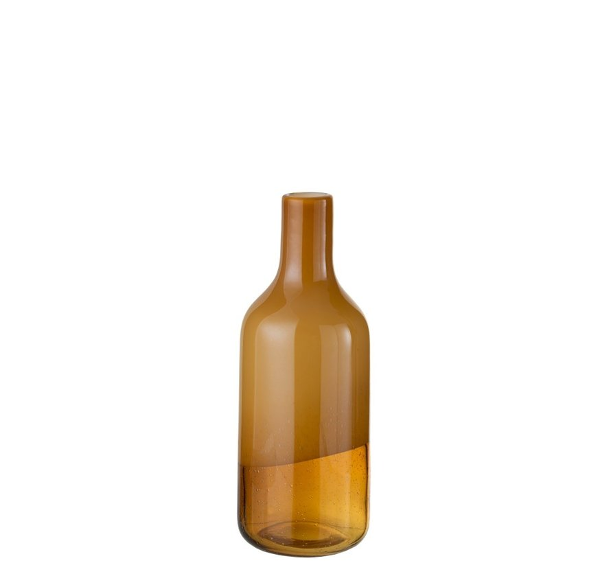 Bottle Vase Elegant Glass Half Mat Ocher - Small