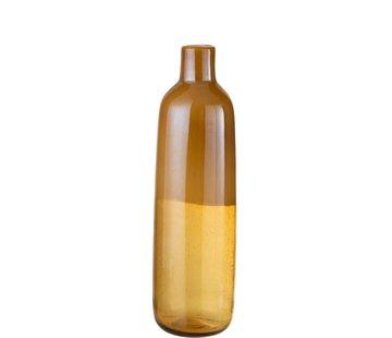 J -Line Flessen Vaas Elegant Glas Half Mat Oker - Large