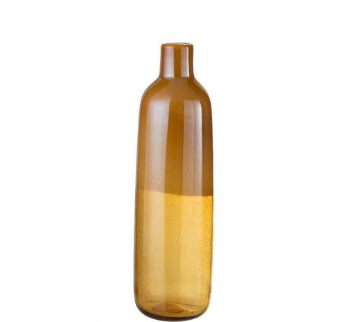 J -Line Bottle Vase Elegant Glass Half Matt Ocher - Large