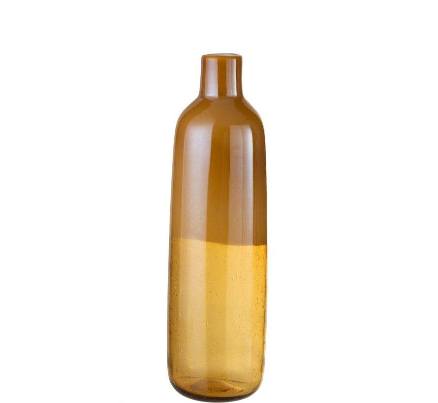 Flessen Vaas Elegant Glas Half Mat Oker - Large
