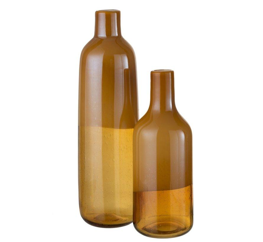 Bottle Vase Elegant Glass Half Matt Ocher - Large