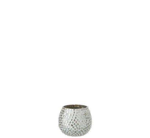 J -Line Tealight Holder Sphere Glass Mosaic White Silver - Small