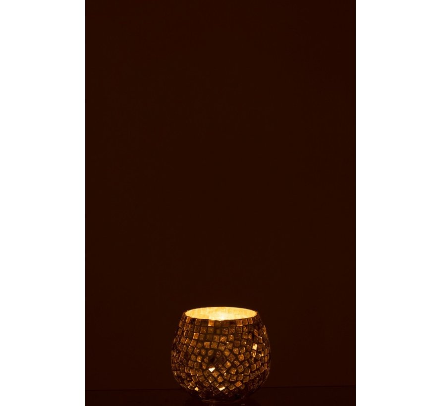 Tealight Holder Sphere Glass Mosaic White Silver - Small