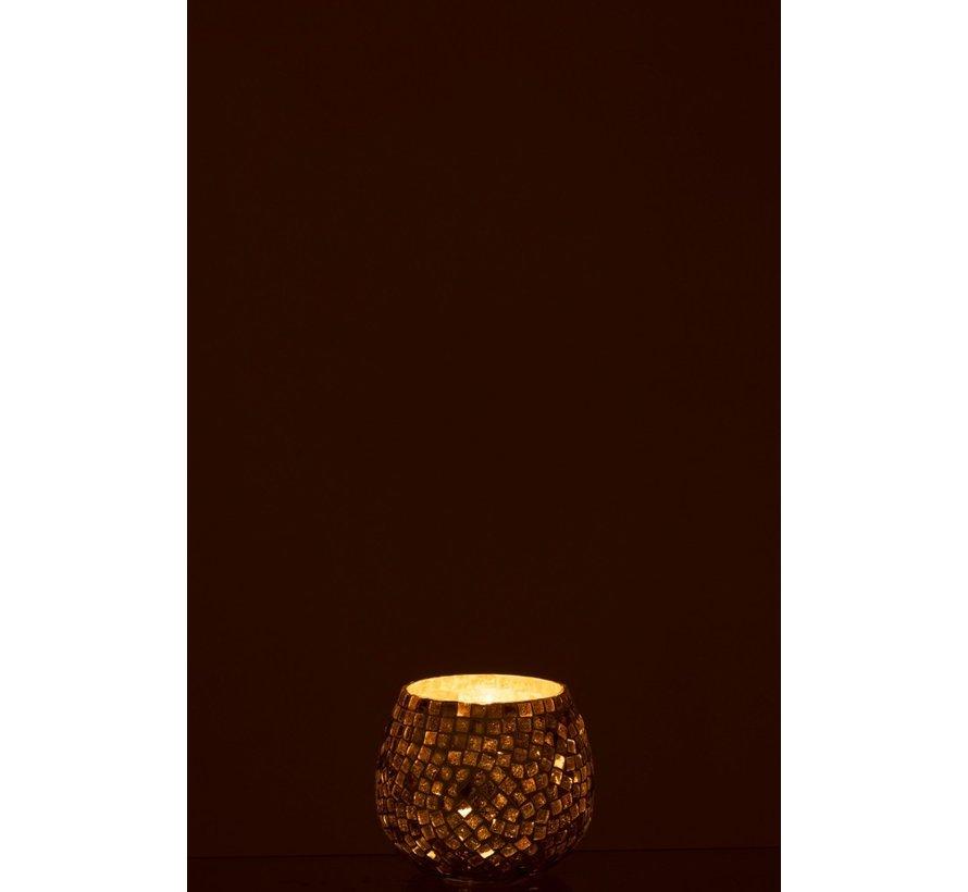 Theelichthouder Bol Glas Mozaïek Wit Zilver - Small