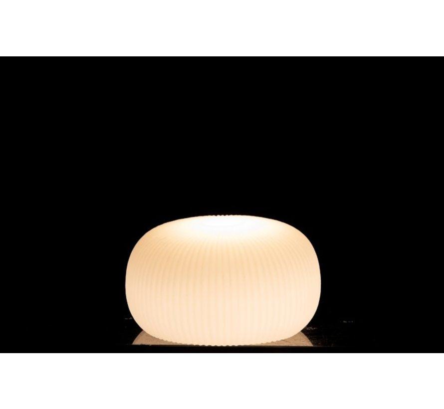Tafellamp Led Geribbeld Keramiek Plat Wit - Small