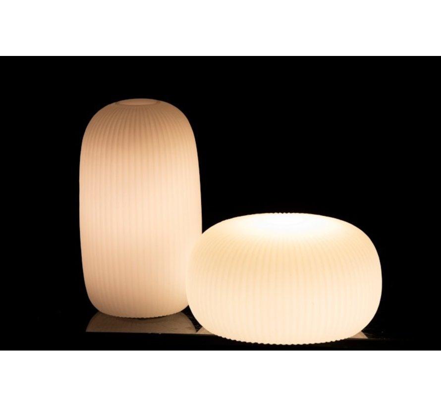 Tafellamp Led Lang Geribbeld Keramiek Wit - Small