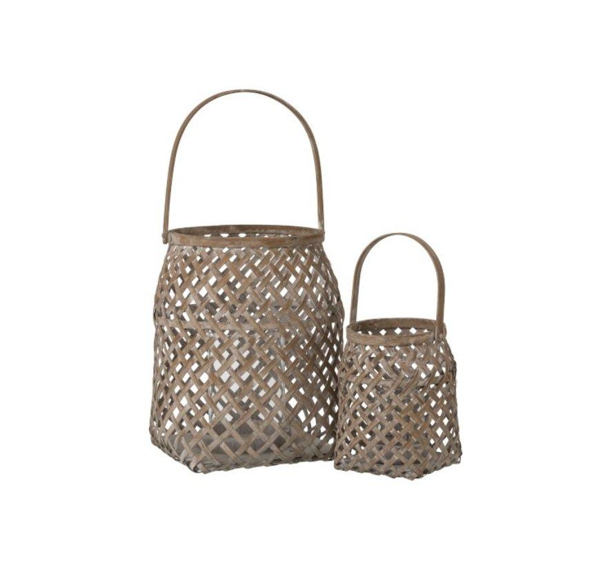 Lantern Braided Bamboo Basket Natural Brown - Small