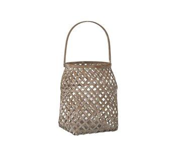 J -Line Lantern Braided Bamboo Basket Natural Brown - Large