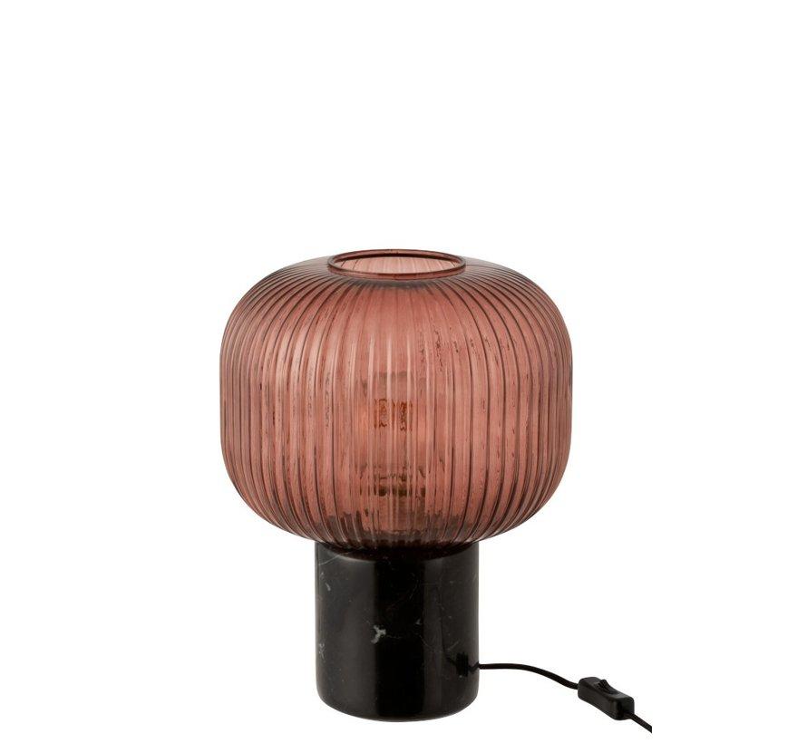Tafellamp Geribbeld Glas Plat Marmeren Voet - Transparant Rood