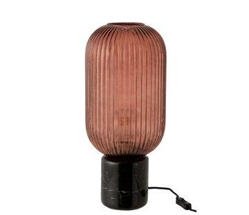 J -Line Tafellamp Geribbeld Glas Lang Marmeren Voet - Transparant Rood