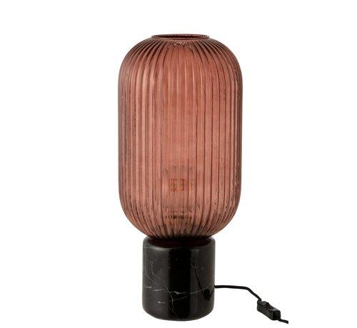 J-Line  Tafellamp Geribbeld Glas Lang Marmeren Voet - Transparant Rood