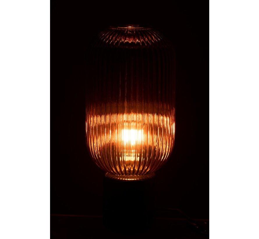 Tafellamp Geribbeld Glas Lang Marmeren Voet - Transparant Rood