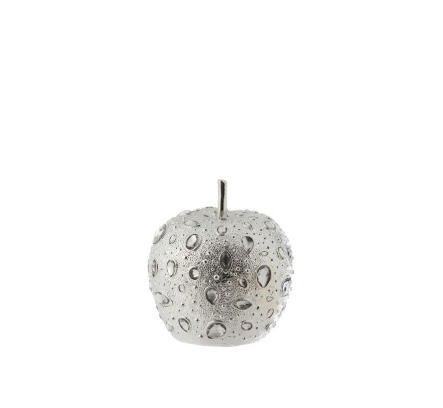 Decoratie Appel Diamant Polyester Zilver - Small