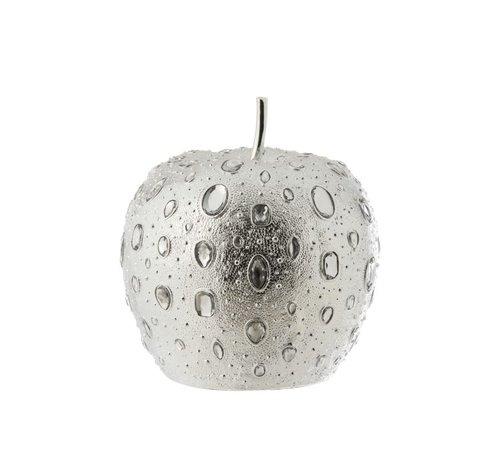 J -Line Decoratie Appel Diamant Polyester Zilver - Large
