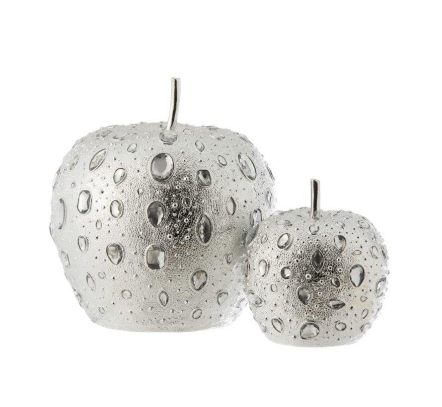 Decoratie Appel Diamant Polyester Zilver - Large