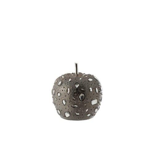 J -Line Decoratie Appel Diamant Polyester Grijs - Small