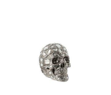 J -Line Decoration Skull Luxurious Diamond Polyester Silver - Small
