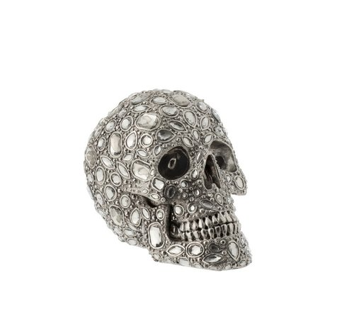 J -Line Decoration Skull Luxurious Diamond Polyester Silver - Large