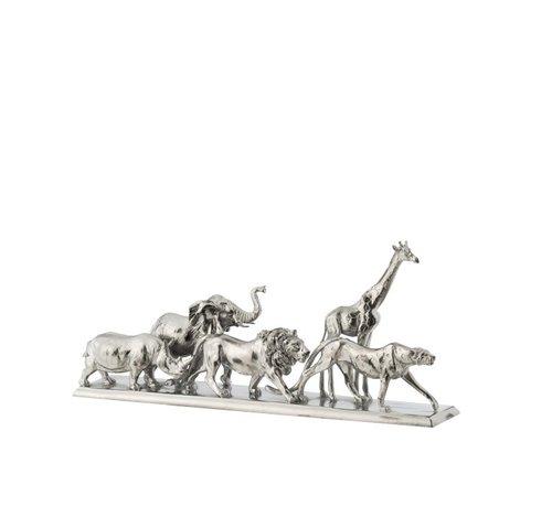 J -Line Decoration Figure Safari Animals On Foot Poly Silver - Small