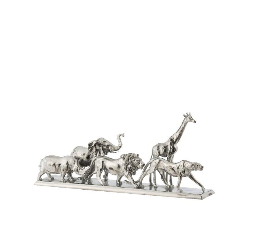 Decoration Figure Safari Animals On Foot Poly Silver - Small