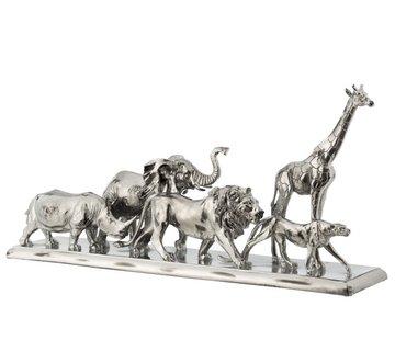 J -Line Decoration Figure Safari Animals On Foot Poly Silver - Large