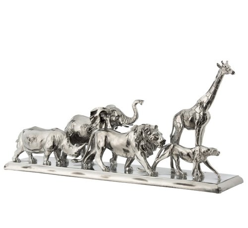 J -Line Decoration Figure Safari Animals On Foot Poly Silver - Large