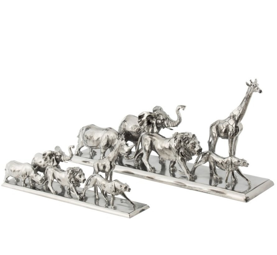 Decoration Figure Safari Animals On Foot Poly Silver - Large