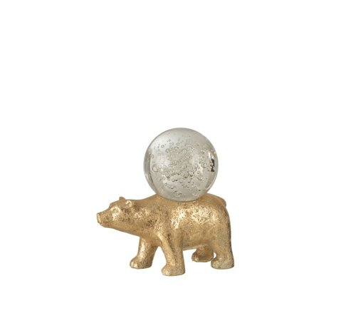 J-Line Paperweight Beer Glass Ball On Spine Gold - Large