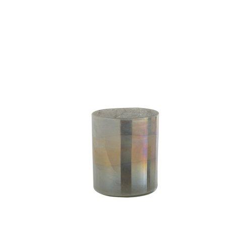 J -Line Theelichthouder Glas Cilinder Glanzend Grijs - Medium