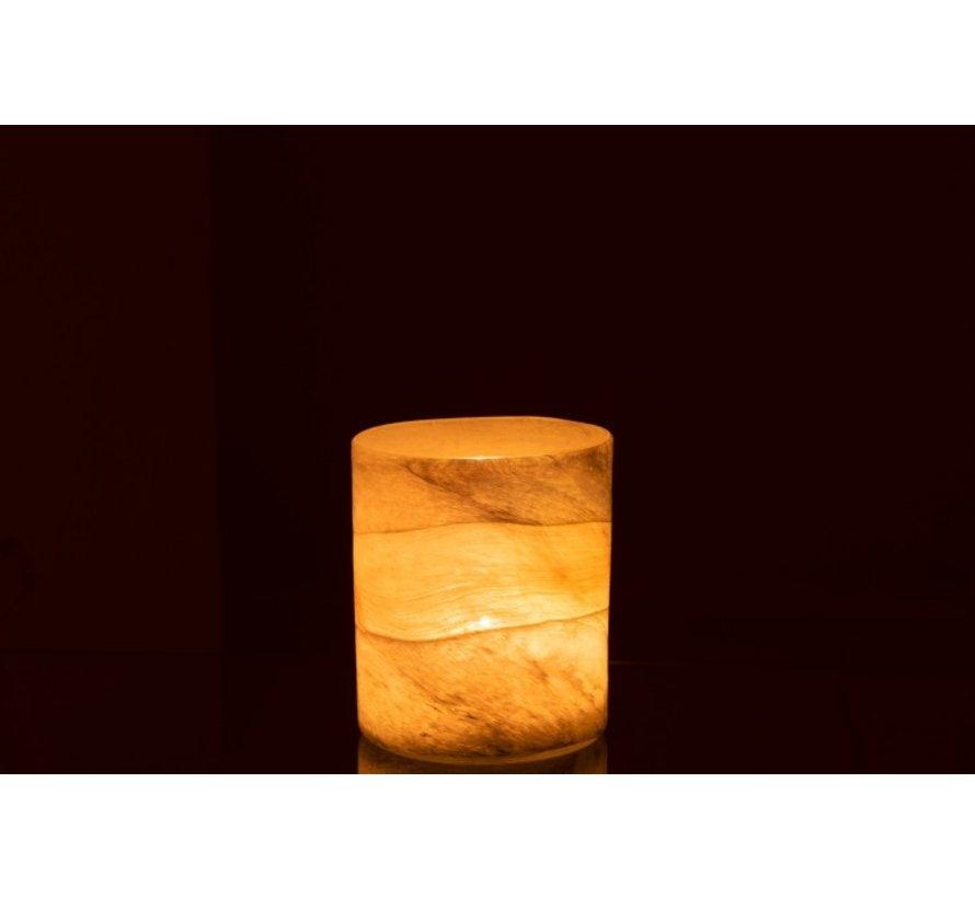 Theelichthouder Glas Cilinder Glanzend Grijs - Medium
