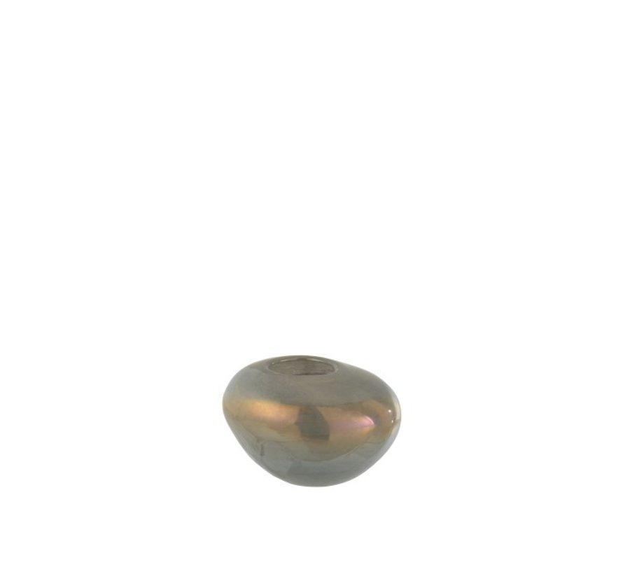 Theelichthouder Glas Eivormig Glanzend Grijs - Small