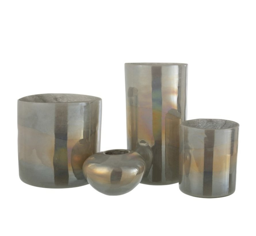 Tealight holder Glass Ovoid Glossy Gray - Small
