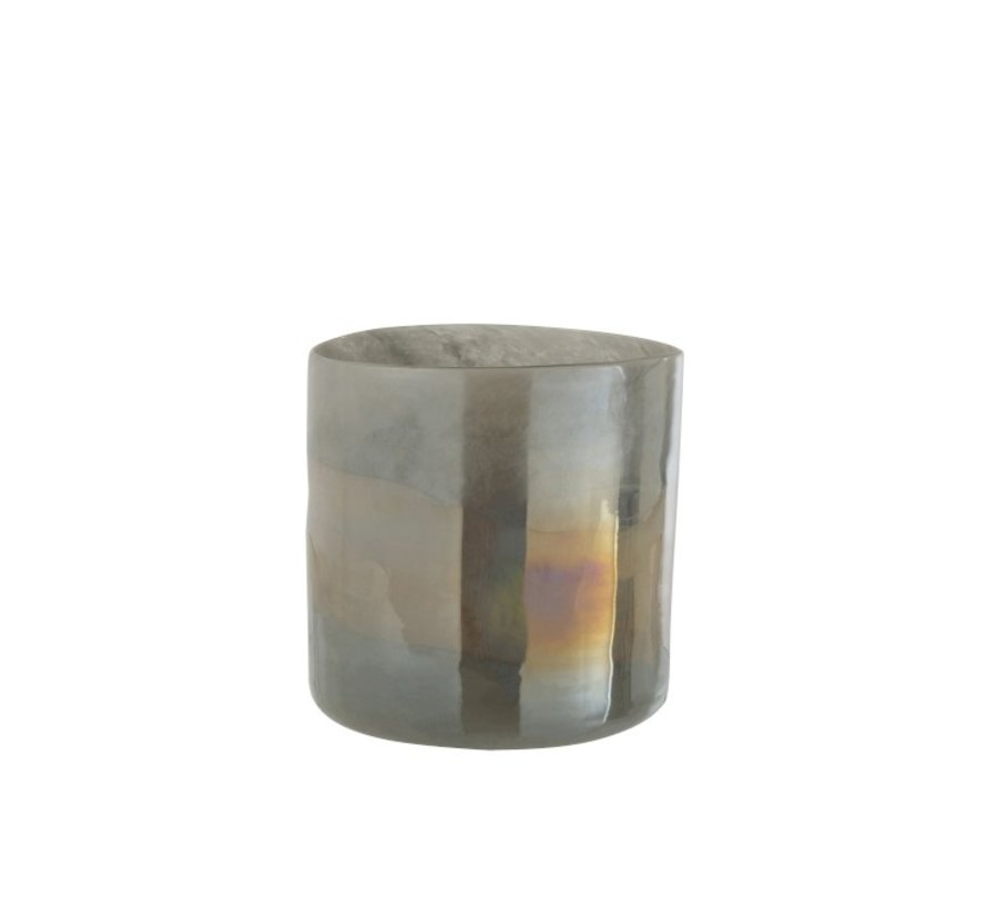 Tealight Holder Glass Cylinder Glossy Gray - Extra Large