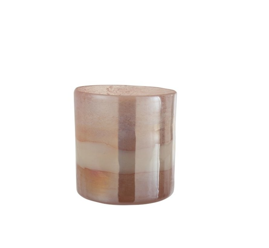 Tealight Holder Glass Cylinder Glossy Pink - Extra Large