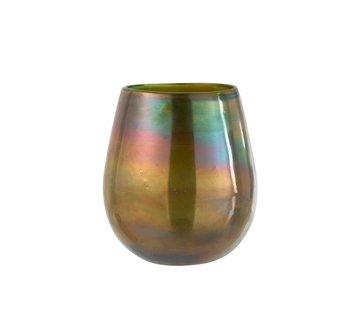 J -Line Theelichthouder Glas Zeepbel Effect Glanzend Groen - Large