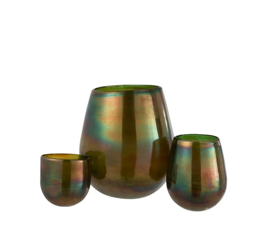 Theelichthouder Glas Zeepbel Effect Glanzend Groen - Large