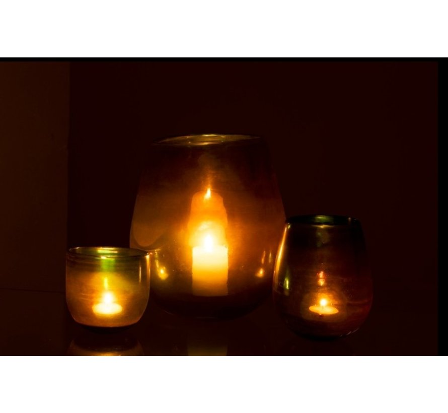 Tea Light Holder Glass Bubble Effect Shiny Green - Large