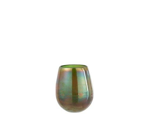J-Line Tealight Holder Glass Bubble Effect Shiny Green - Medium