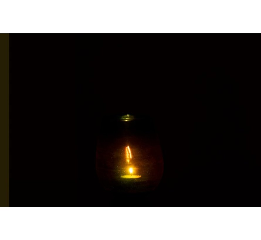 Tealight Holder Glass Bubble Effect Shiny Green - Medium