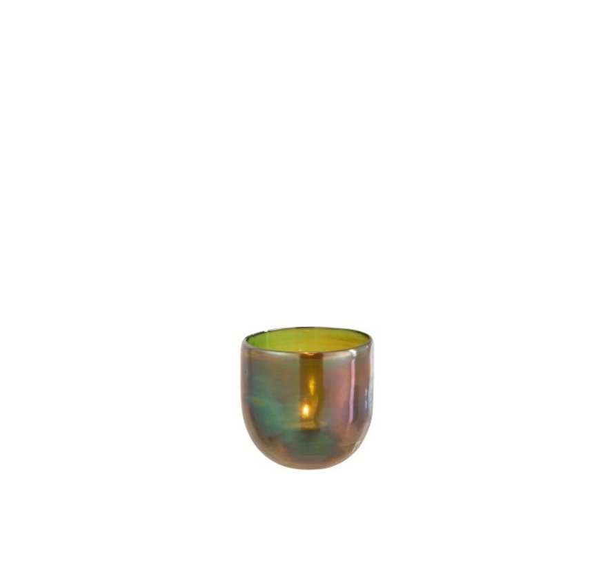 Tea Light Holder Glass Bubble Effect Shiny Green - Small