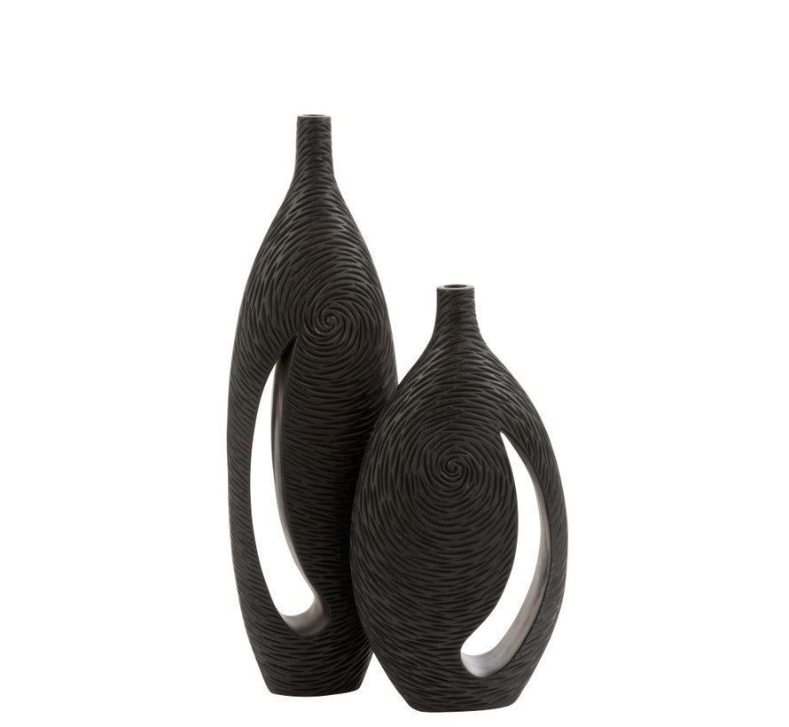 Bottle Vase Vortex Handle Poly Dark Brown - Small
