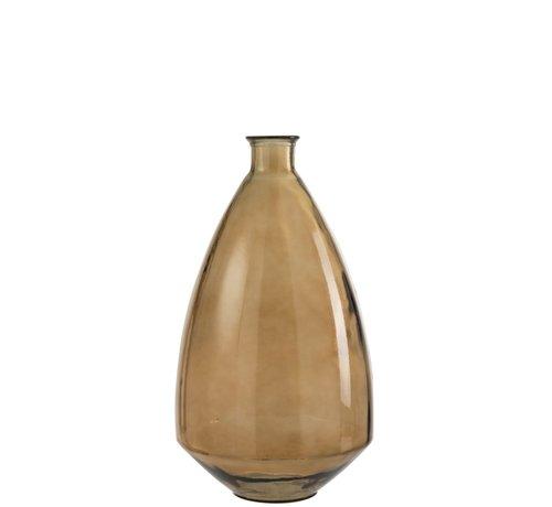 J-Line Flessen Vaas Glas Breed Transparant Bruin - Medium