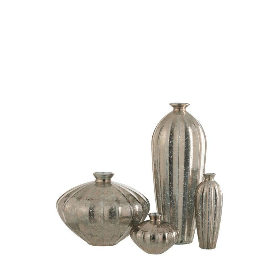 Bottle Vase Glass Low Classic Champagne - Small