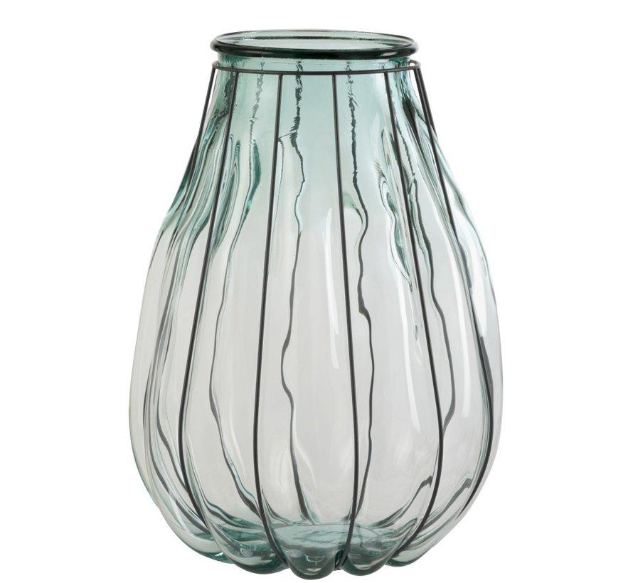 Vaas Glas Metaal Transparant Blauw - Large