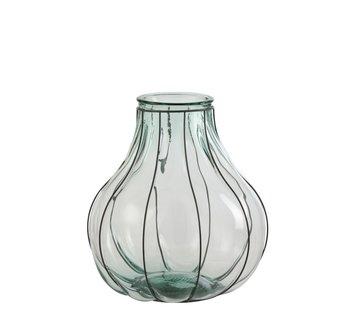 J-Line Vaas Glas Metaal Transparant Blauw - Medium