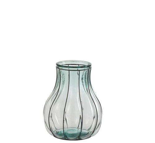 J -Line Vaas Glas Metaal Transparant Blauw - Small