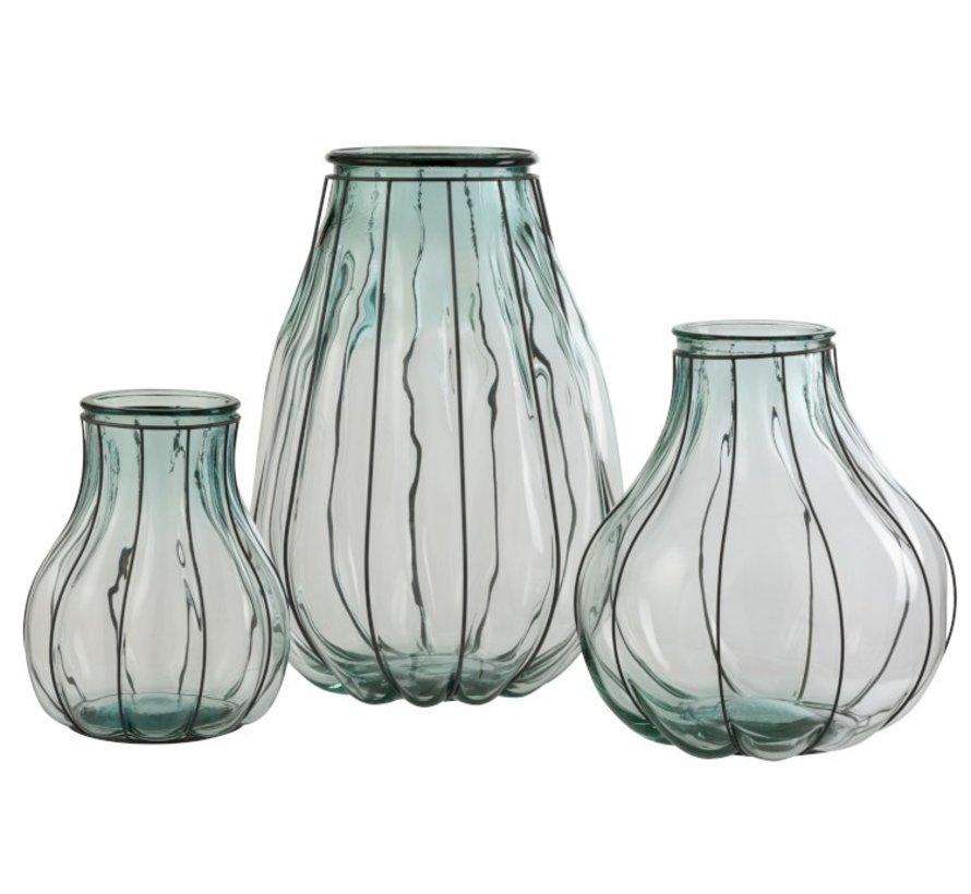 Vaas Glas Metaal Transparant Blauw - Small
