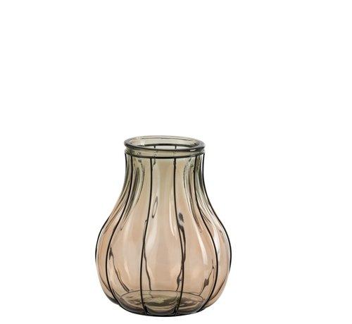 J -Line Vaas Glas Metaal Transparant Taupe - Small