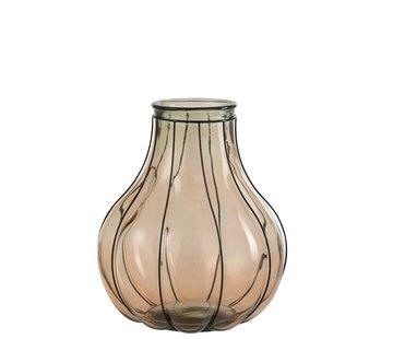 J -Line Vaas Glas Metaal Transparant Taupe - Medium