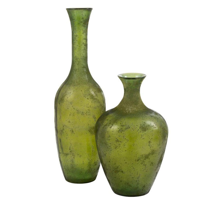 Bottle Vase Glass Elegant Matt Green - Large